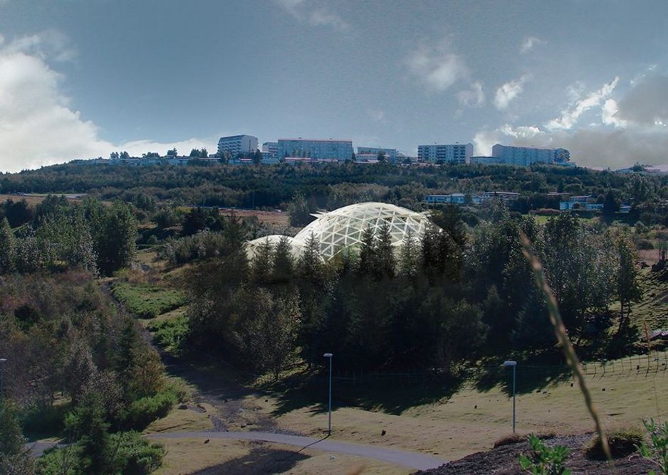 Visualisation of biodome on the edge of Elliðaárdalur Valley.