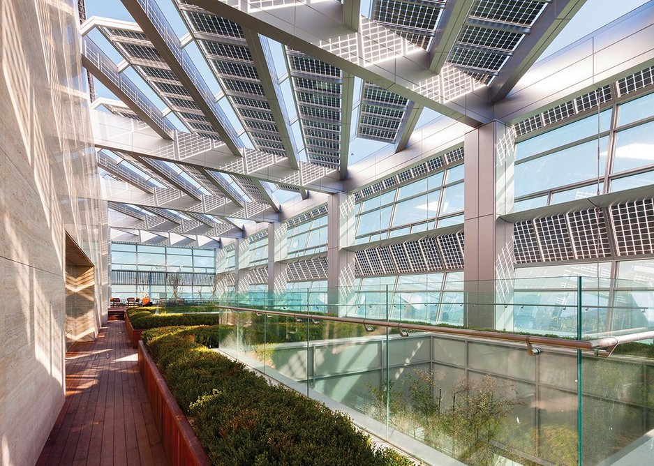 Smith + Gill's FKI Tower, Seoul, Korea: a facade that is a source of both power generation and solar shading.