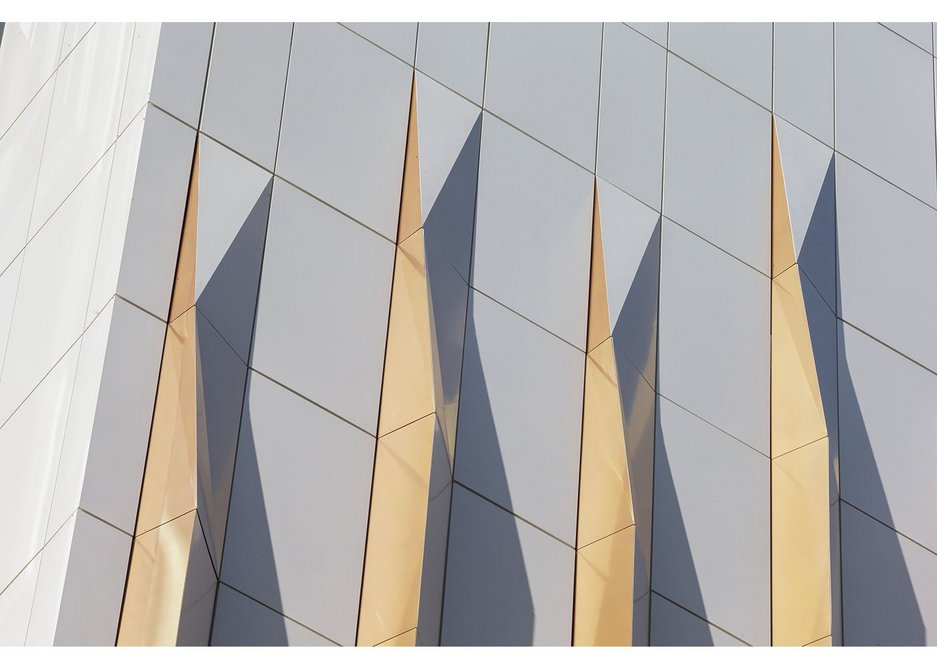 A close-up of the Ash & Lacy 3D effect rainscreen cladding at Aukette Swanke's Forbury Place in Reading.