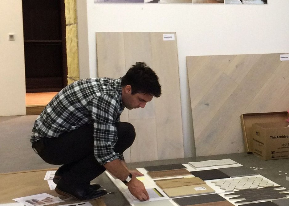 Paul Ruff preparing sample palette proposals within The Mad Science Lab mock-up room.