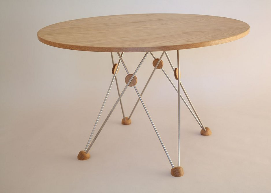 Student designer -  Geometry table in European Oak and steel by Michael Stevenson of Building Crafts College.