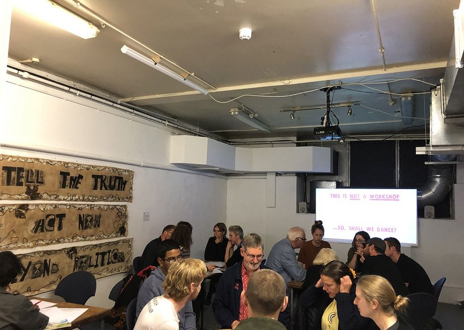 The U.K.'s first Climate Emergency Compliant Cities hackathon in progress during Extinction Rebellion Scotland's Summerhall Residency at the Edinburgh Fringe – including representation from Friends of the Earth Scotland, the Royal Incorporation of Architects in Scotland, the Scottish Ecological Design Association and the Scottish Youth Strike for Climate. August 2019.