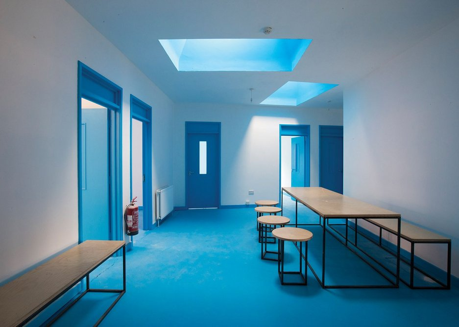 The interior of the Blue House contains 13 additional studios of various sizes.