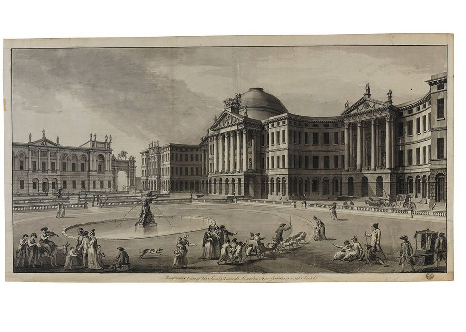 Finished drawing showing a view from Lincoln's Inn Fields of an unexecuted scheme for Lincoln's Inn, c1772-74.