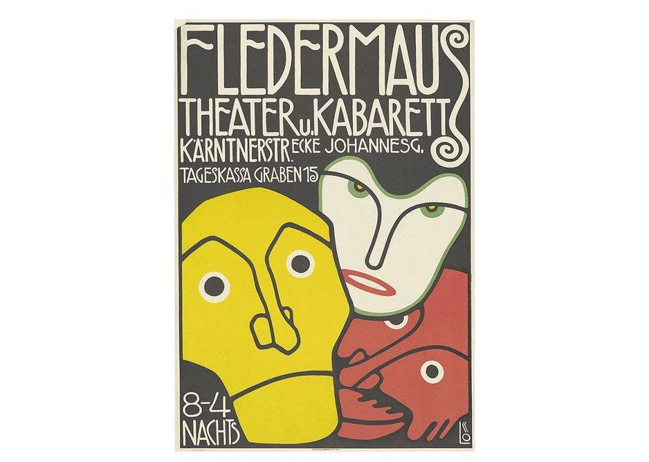 Bertold Löffler, Poster for the Cabaret Fledermaus, 1907, The Albertina Museum, Vienna © The Albertina Museum, Vienna.