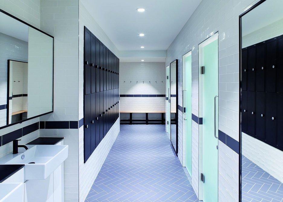 Shower and locker room.
