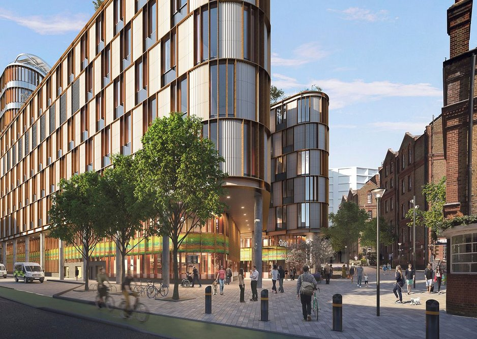 Project Oriel, a new home in St Pancras for Moorfields Eye Hospital and the UCL Institute of Ophthalmology. Penoyre & Prasad is lead architect as part of the AECOM team.