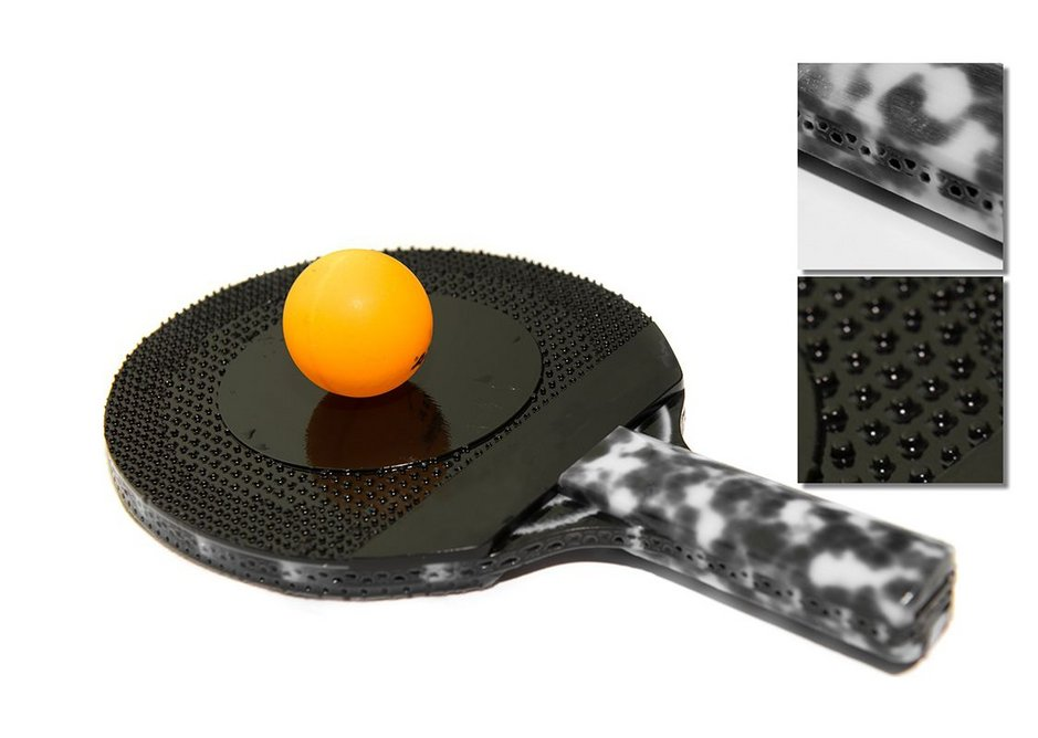 Items made by MIT using the software include a ping pong paddle...
