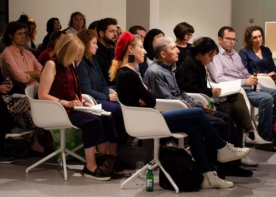 An attentive audience listens to the discussion about good design at the Space in Architecture series, Knauf Clerkenwell