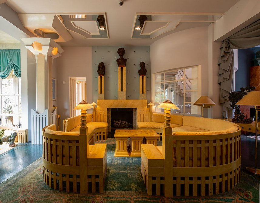 The Spring Room with fireplace designed by Michael Graves.