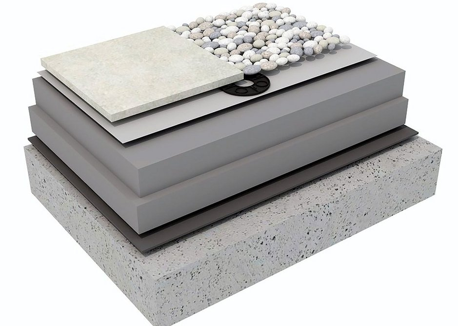 Inverted roof buildup with paving or aggregate ballast using XENERGY™ SL and XENERGY™ MK  by Dow