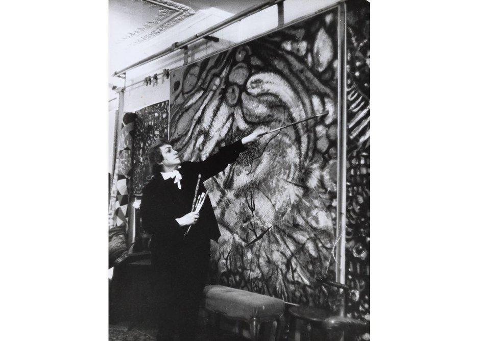 Fahrelnissa Zeid in her studio, Paris, c.1950s. Raad Zeid Al-Hussein Collection.