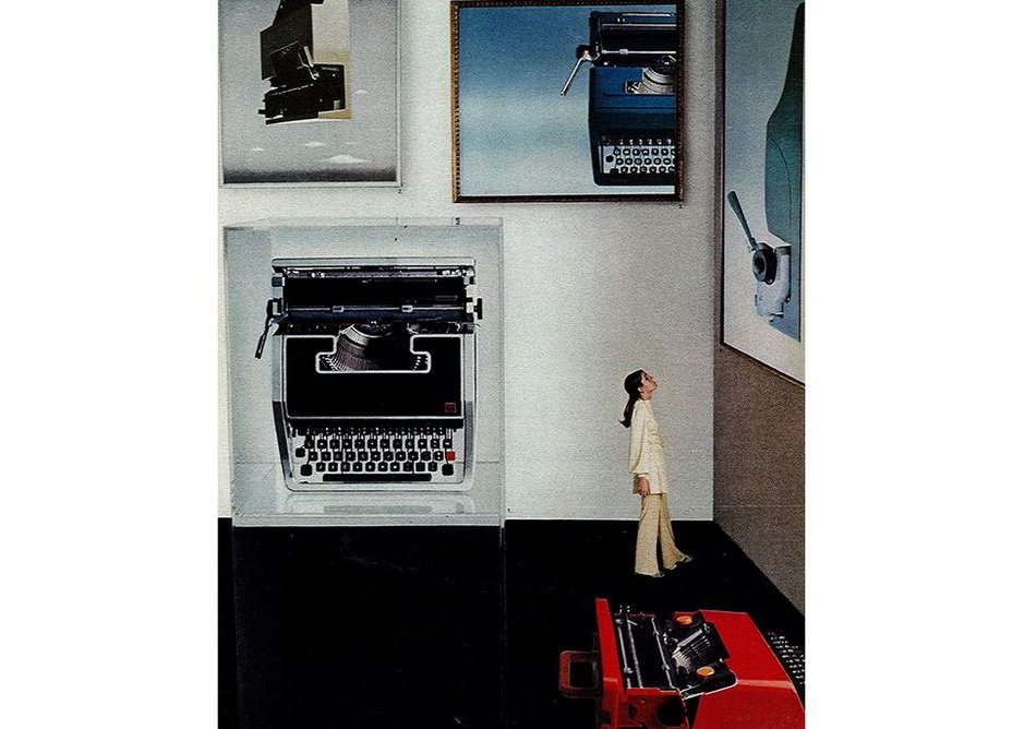 Advertisement for Olivetti typewriters including Valentine, designed by American photographer and graphic designer Henry Wolf (1969).