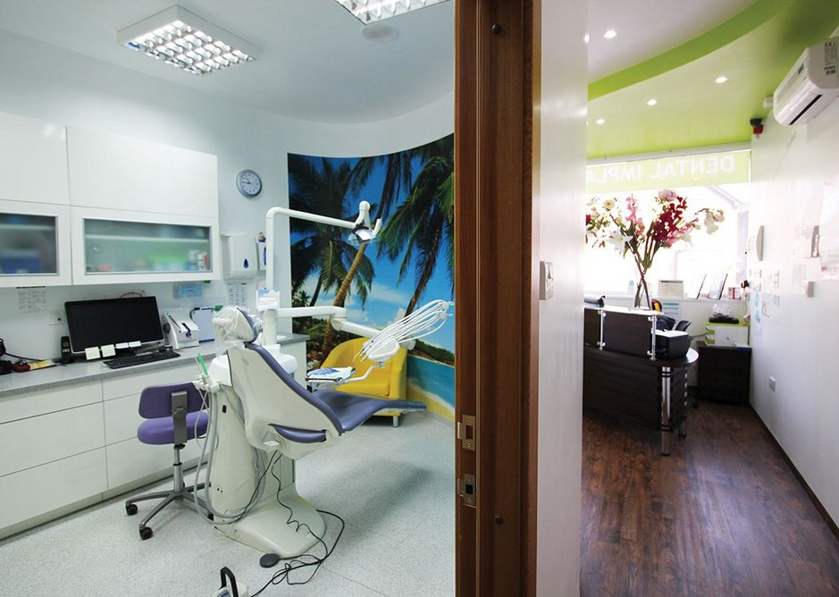 Surgery and reception area of the Premier Dental Clinic and Lab in Shortlands, Kent, designed by Stephen Ware.