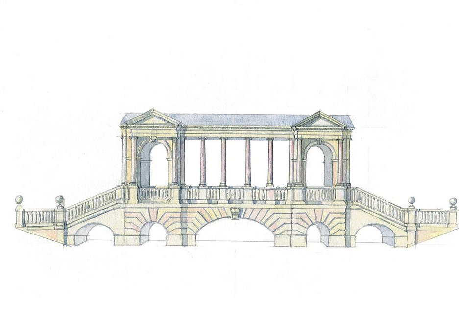 The Palladian Bridge, Prior Park, Bath, described by the author as 'an aquatic ha-ha' that acts as a threshold between the rural and the urban. Sketch by Rory Fraser.