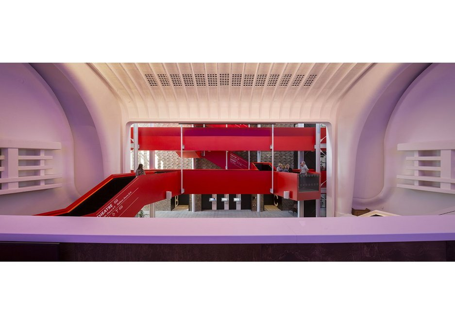 The foyer space borrows the frame of the old cinema. Chester Storyhouse, Bennetts Associates.