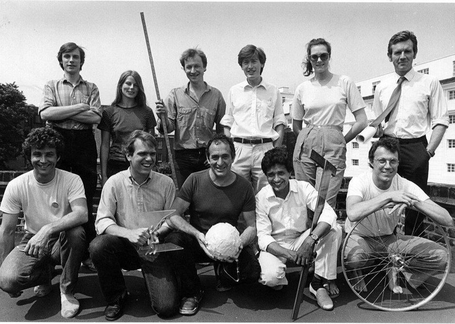 Sunand Prasad (bottom row, 2nd from right) & Greg Penoyre (top row, far left) at Cullinans, 1982. Edward Cullinan is centre, bottom row.
