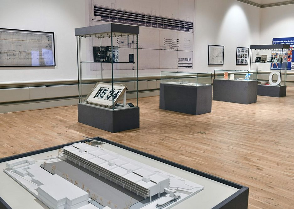 Exhibition installation with a model by John Puttick Associates, architect of the recent refurbishment, in the foreground.