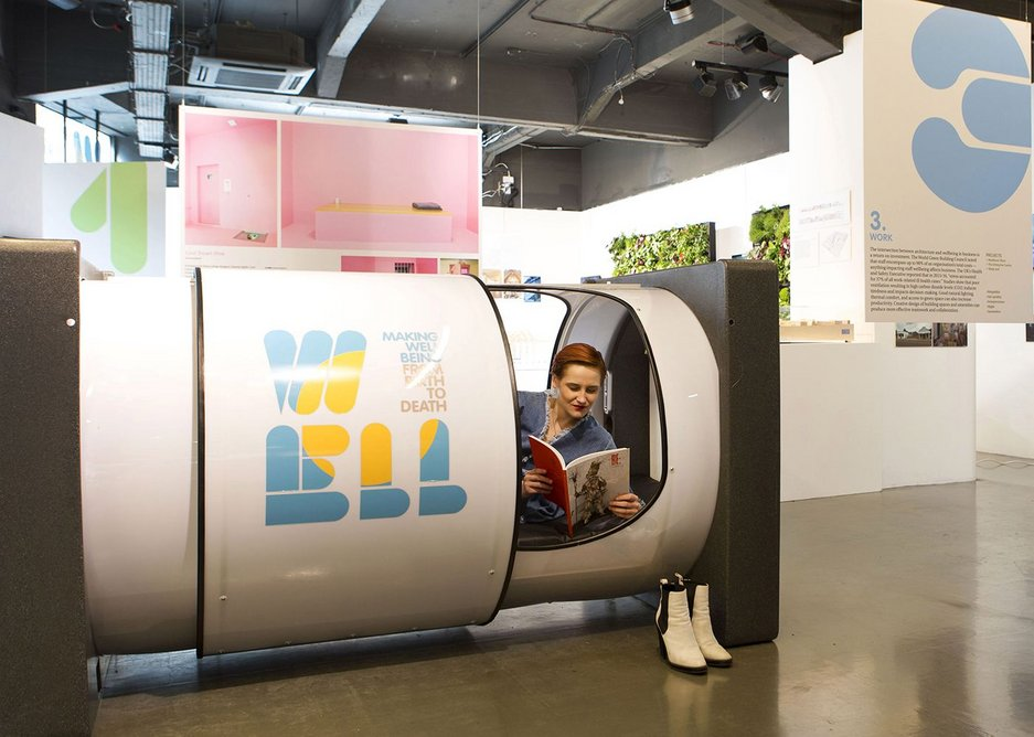 Making Wellbeing exhibition at the Building Centre. The installation includes a relaxation pod by PodTime, designed for various applications including offices, airports and hostels.