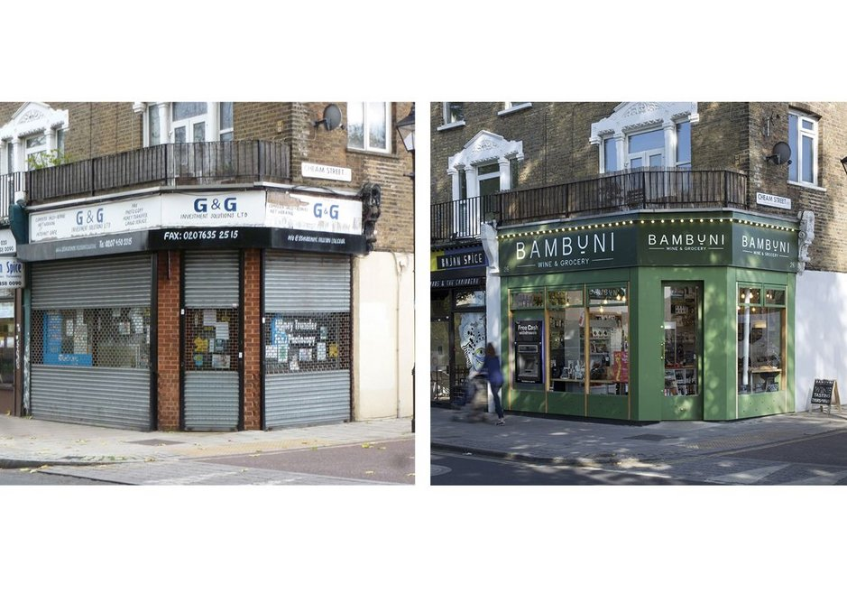 26 Nunhead Green before (left) and after. The Nunhead Village town centre project was initiated by Southwark Council (phase 2).
