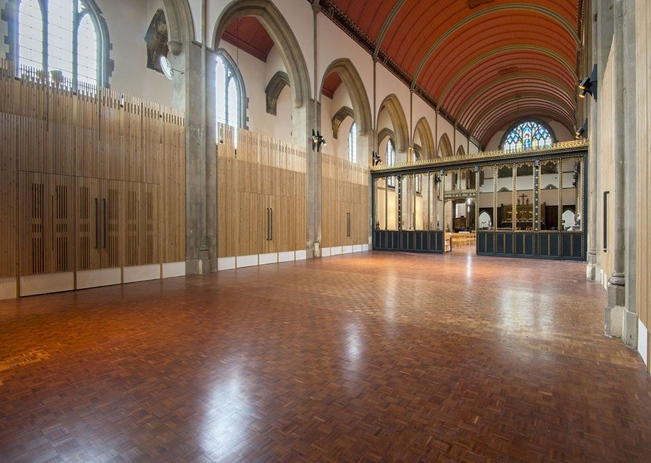 The rood screen was rolled back to the line of the original smaller church to give clear community space at the back of the nave.