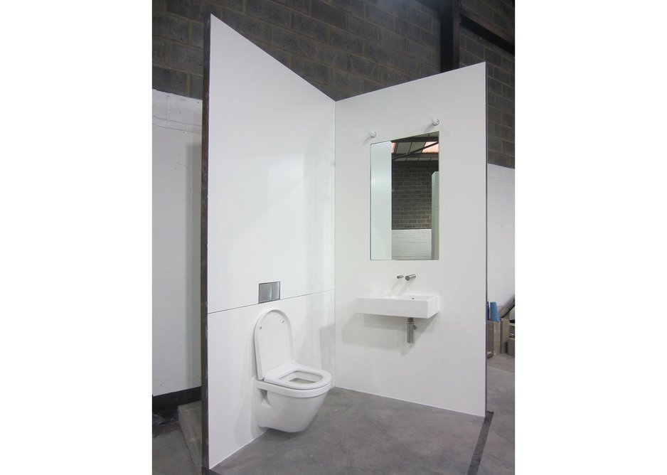 A calm and neutral approach to washroom specification – fully mocked up before installation.