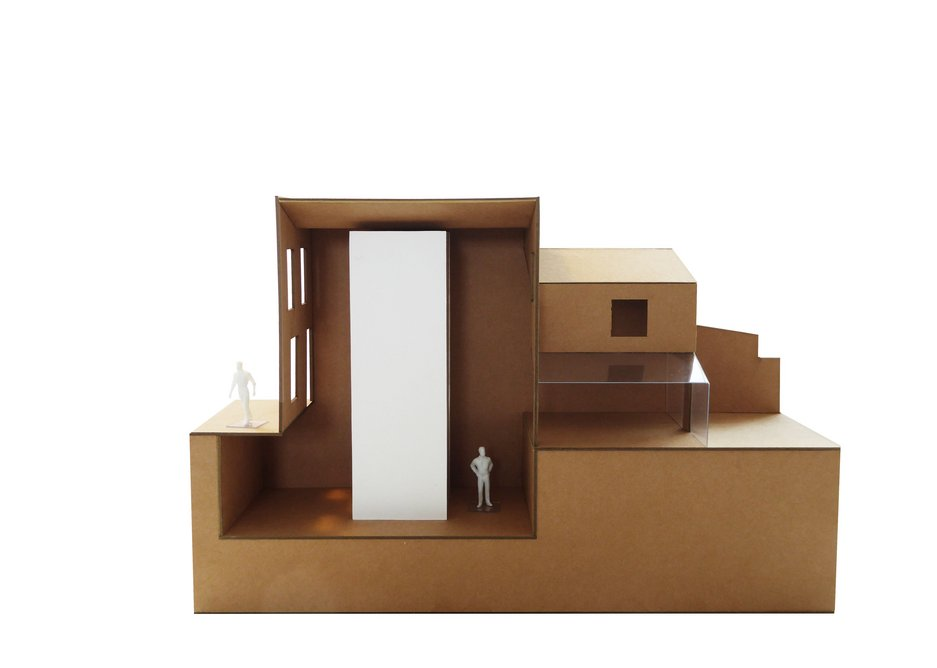 Volumetric study model for Zealand Road providing triple-height new space.