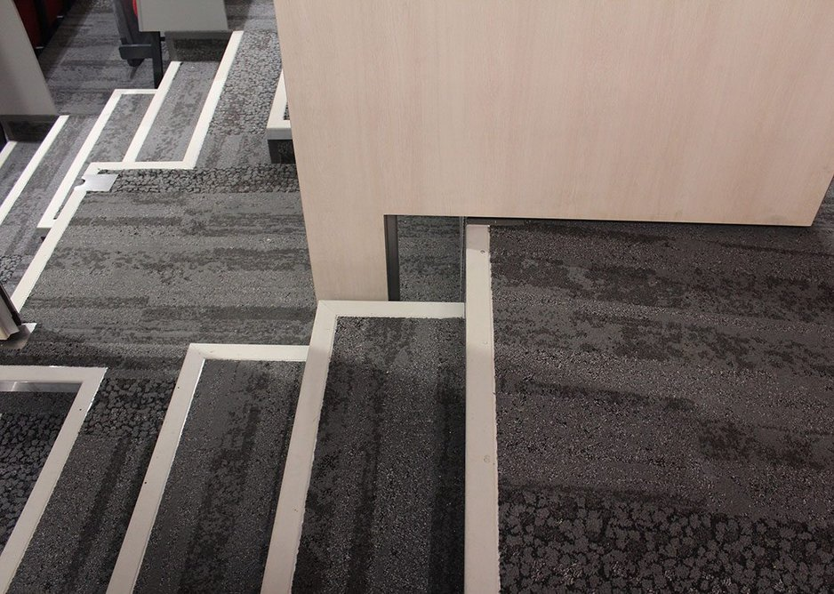 Individual panels have been precision cut to match the rising stairs.