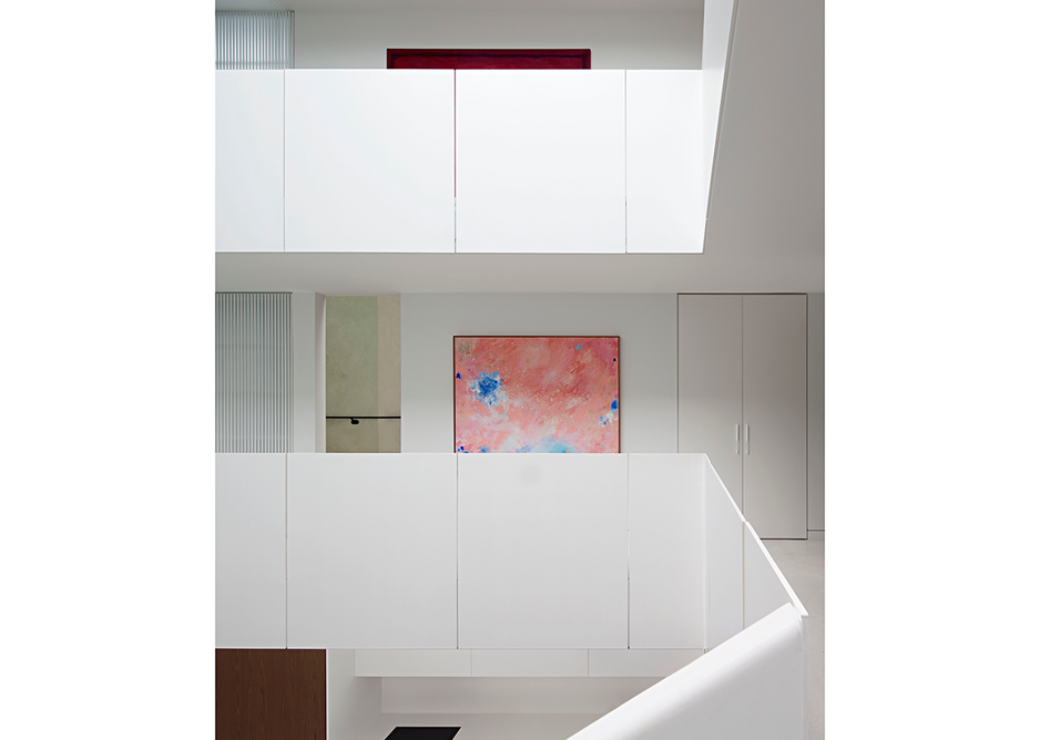 View across atrium to bedrooms and separate living rooms. Artwork: Amphitheatre: Crystal Caves, 2016, by Katie McKinnon.