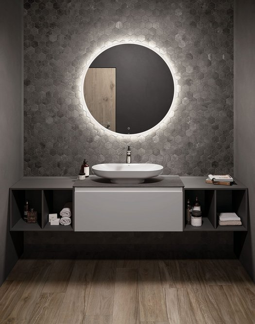 RAK-Des washbasin and RAK-Joy vanity: A concept bathroom suite that pays tribute to the Bauhaus school.