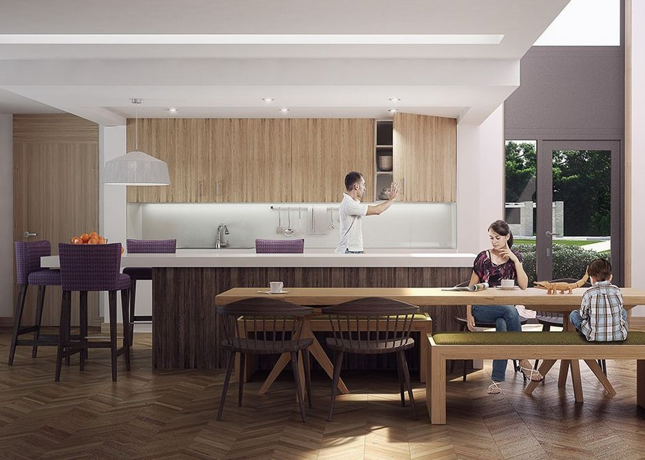 Family social space with large kitchen table.
