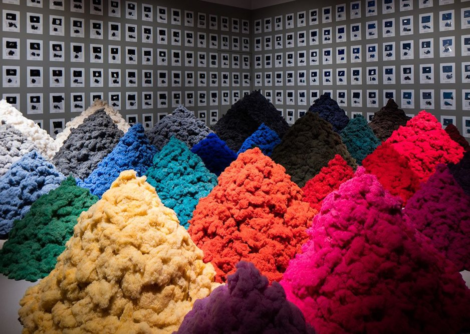 Fear and Love – Reactions to a Complex World. Fibre Market by Christien Meindertsma explores the potential of recycling woolen jumpers.