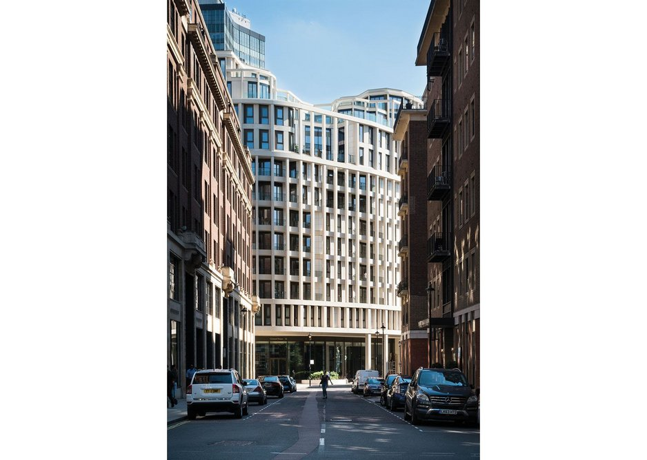High density with Baroque flourishes: Cleland House closes the vista from St John Smith Square.