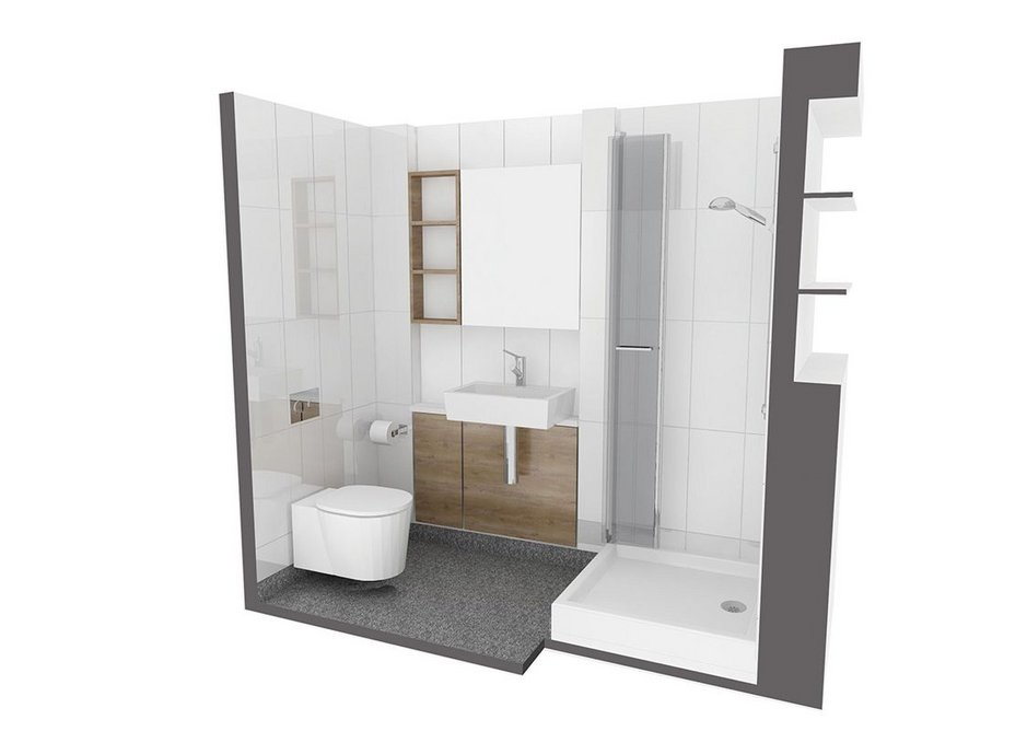 Prefabricated bathroom pods as visualised above were manufactured by Offsite Solutions and brought down and installed on site.