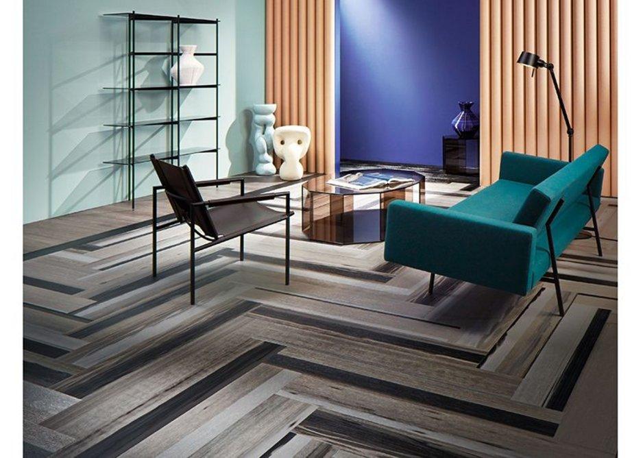 Forbo Allura Fusion vinyl tile flooring in wp60375 Black Fused Oak and Allura Grey Collage Oak.