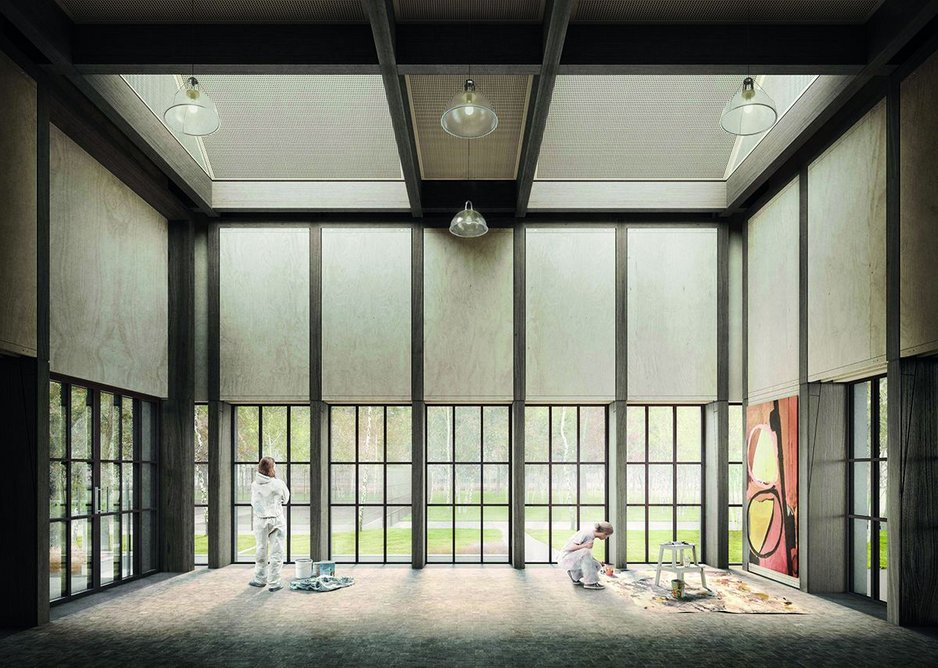 Draper's design for a new art studio with sliding wall panels to ensure Thorpe Lodge is a flexible space for different art classes and community groups.