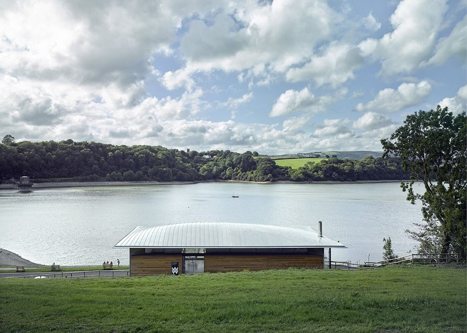 Approaching from the car park above, the 'lovely' visitor centre roof is a welcoming sight against the water.