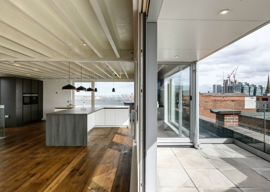 The penthouse apartment with views over Birmingham and the Jewellery Quarter.