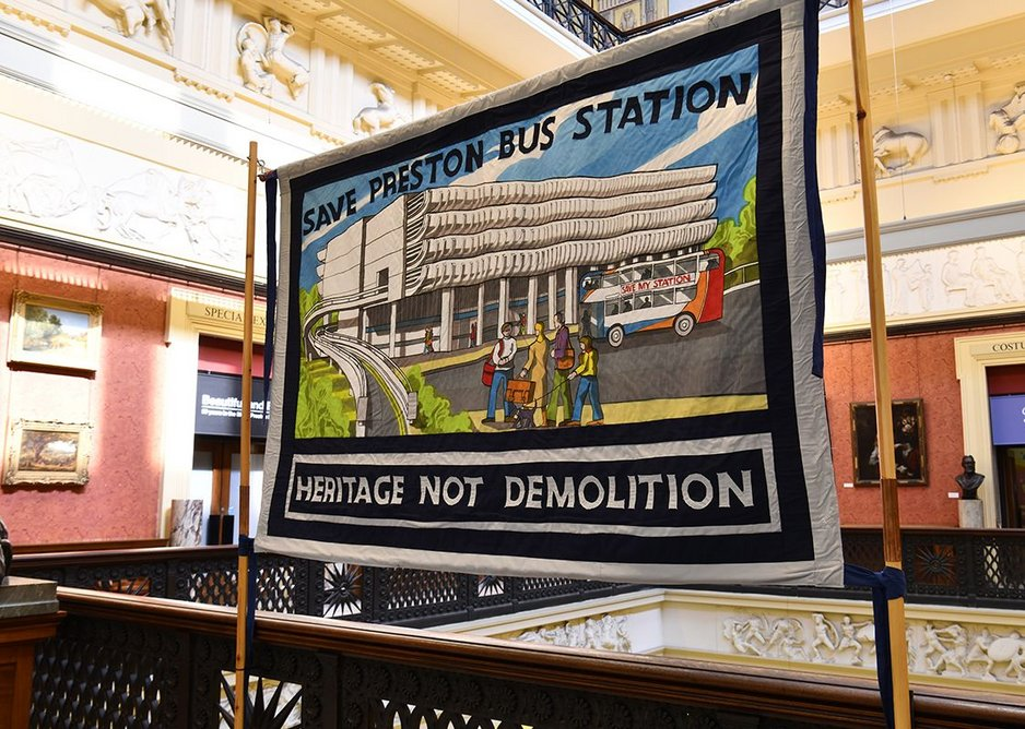 Save Preston Bus Station Banner, designed by Ed Hall for the campaign to prevent the bus station's demolition.