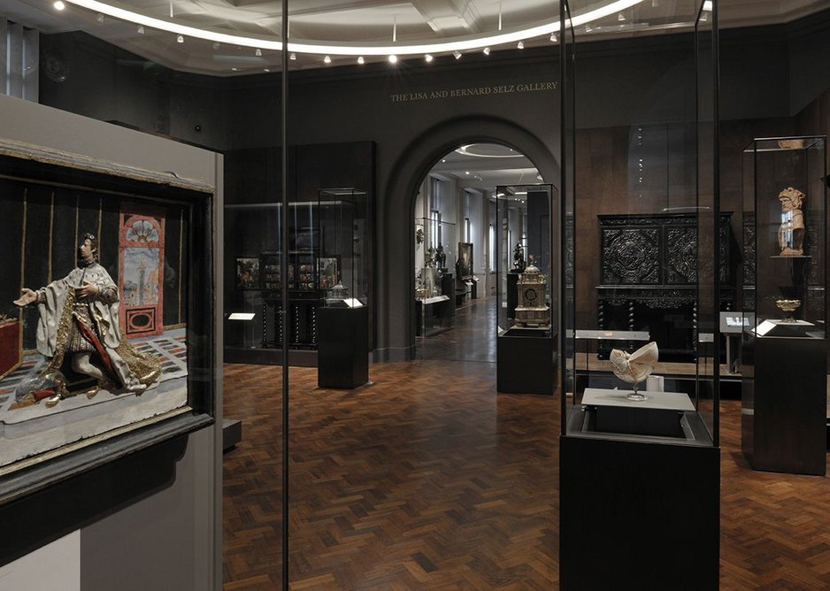 The leather-lined gallery of collecting cabinets.