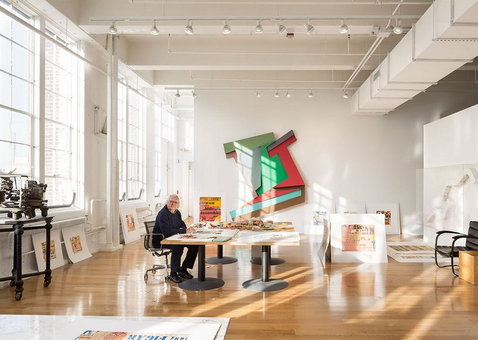 Richard Meier in his studio, with Frank Stella's artwork on the wall. Courtesy Richard Meier & Partners Architects.