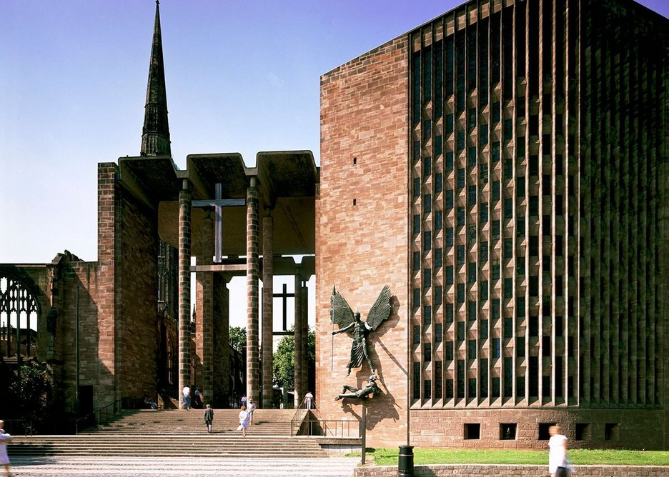 Basil Spence's Coventry Cathedral with the ruined Cathedral of St Michael to the left, serving as a permanent memorial.
