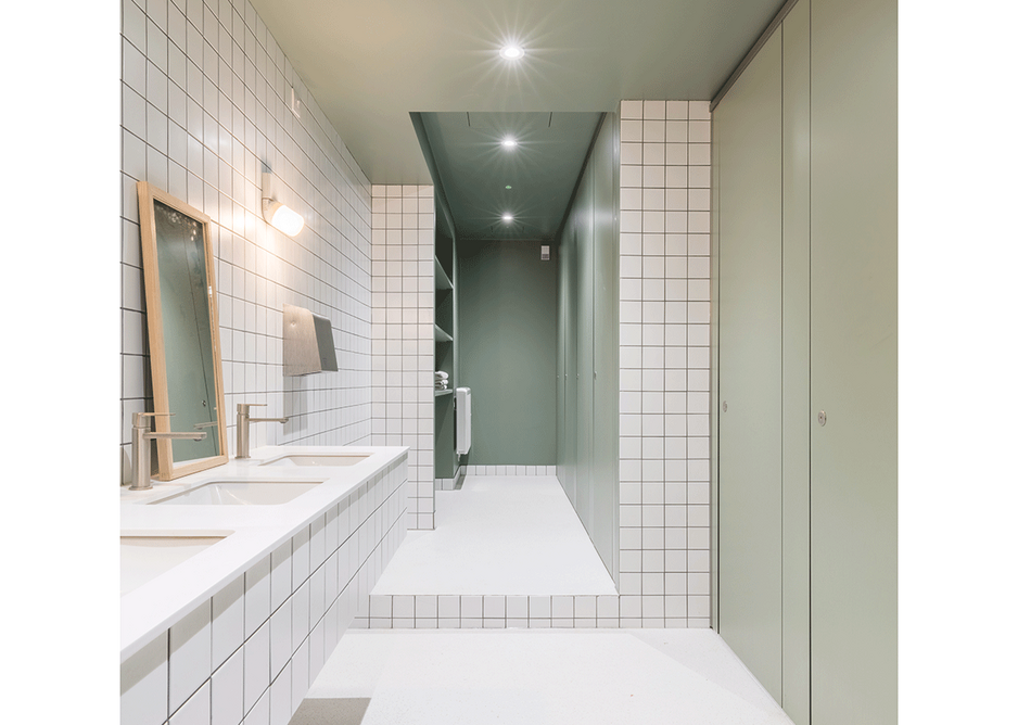 Non-institutional showering areas have a simple dignity.