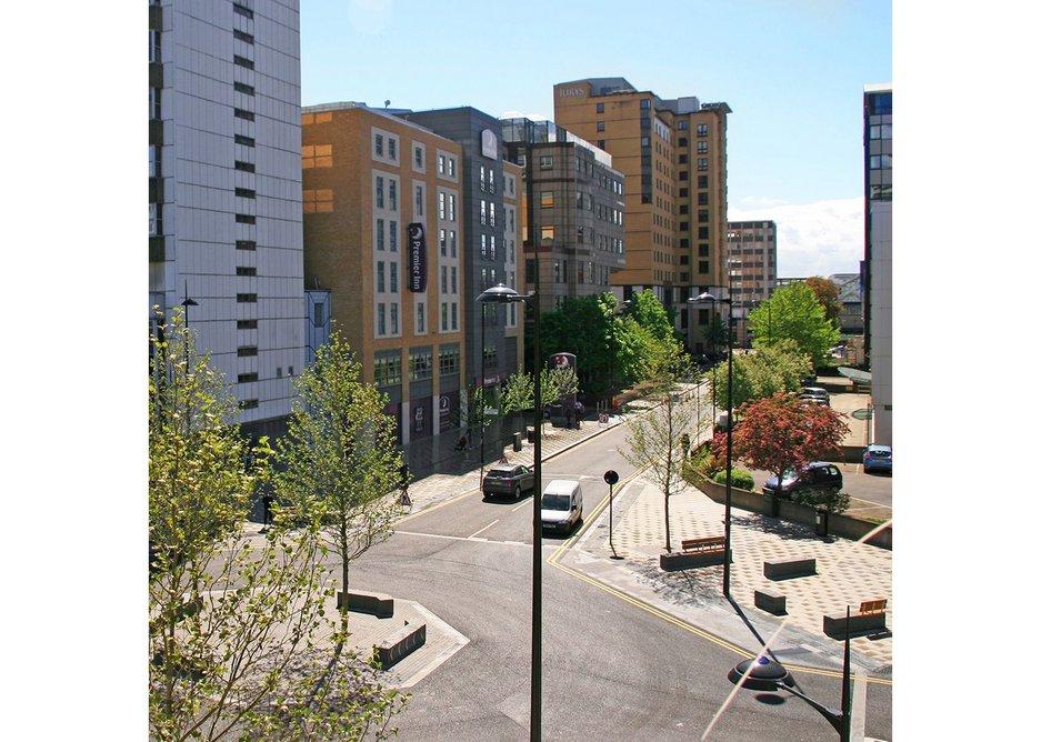 Lansdowne Road Croydon, part of a new east west pedestrian route connecting up central Croydon.