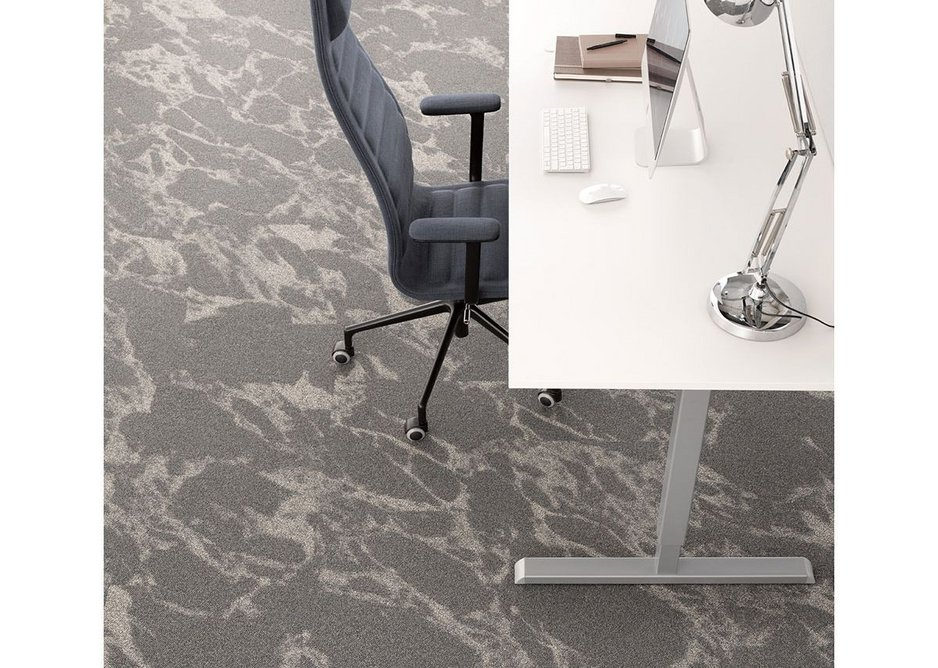 Desso Resonance carpet tiles feature a marbling effect inspired by the beauty of organic movement in nature.