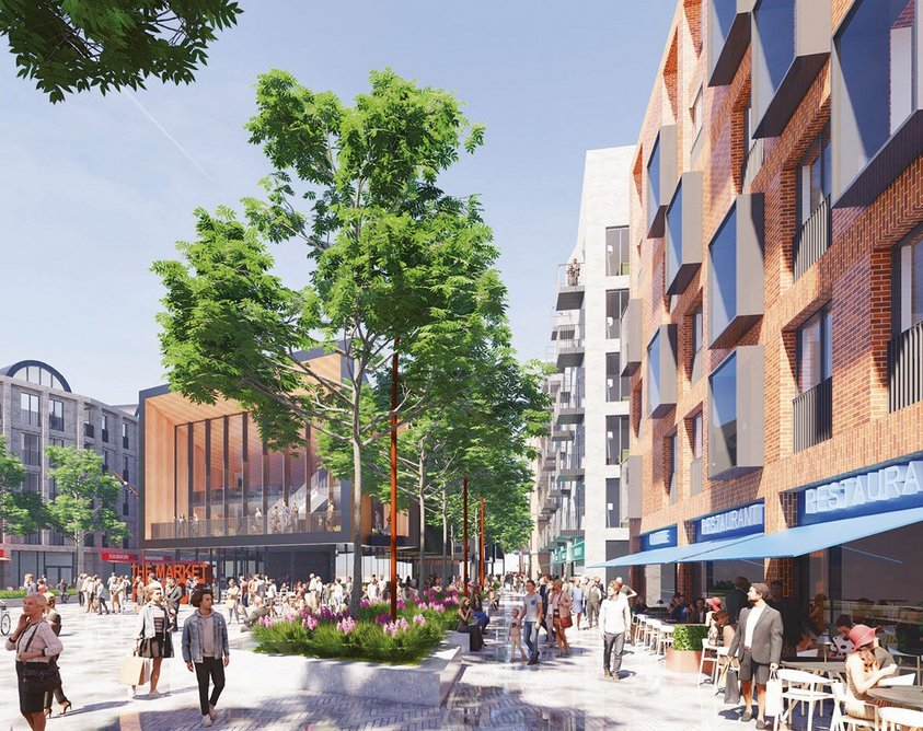 Capital & Centric's £27 million proposal for Farnworth market in Bolton. A key part of the local council's town centre masterplan, the BDP design would see the site transformed into a mixed-use community with 200 homes, with a public square, market, gallery and other community uses.