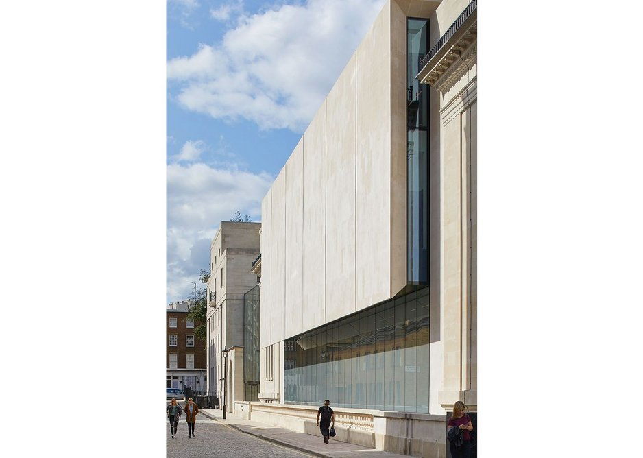 A monumental curtain of Portland stone hangs over the expanded lecture theatres.