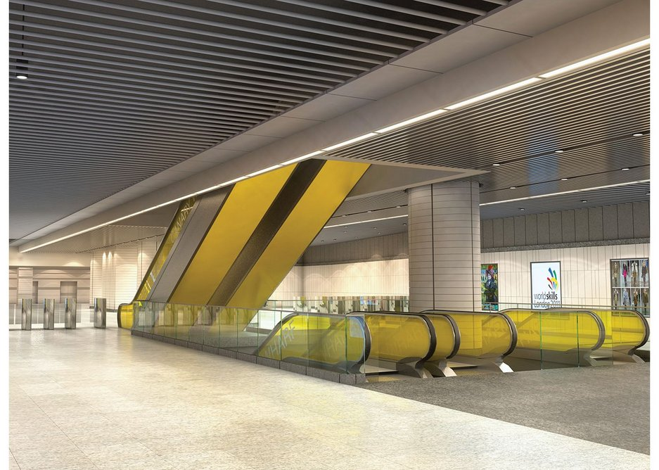 Down below, the completed Canary Wharf station by Tony Meadows and Adamson Associates awaits its first passengers.