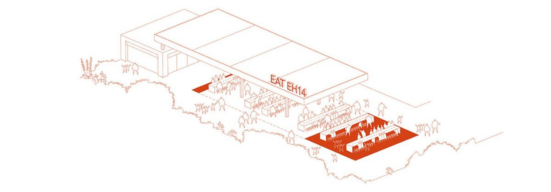 EAT EH14 community restaurant proposed for Wester Hailes. The idea was envisaged by citizens Chuks Ododo and Ilisapeci Rawalai with Nicky Thomson and Rowan MacKinnon-Pryde of Studio Niro as part of What if…?/Scotland. Image Courtesy of Studio Niro