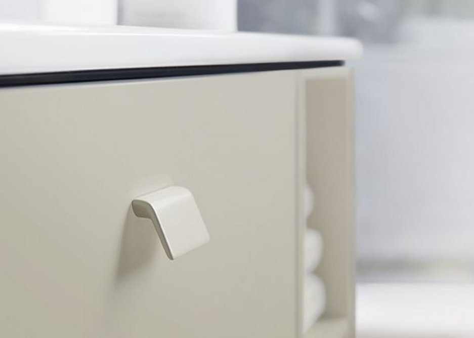 The handles and feet of the Briso bathroom range can be supplied in the colour of the carcase or in a chrome finish.